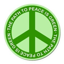 Green Peace Sign Car Magnet