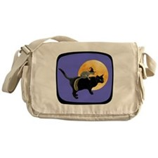 Witch Squirrel Cat Blue Messenger Bag