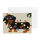 Dachshund (Blk/Tan) Tangled In Christmas Lights Gr