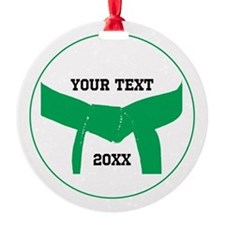 Custom Martial Arts Green Belt Round Ornament