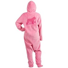 bouvier pink text.png Footed Pajamas