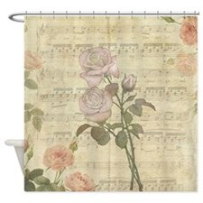 Vintage Romantic pink rose and music score Shower