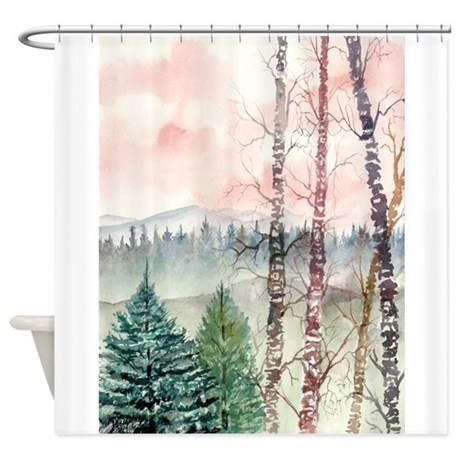 birch bathroom d cor birch tree painting shower curtain