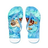 paintings of sea turtles and gifts Flip Flops
