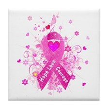 Pink Ribbon in Vintage Tile Coaster