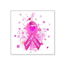"Pink Ribbon in Vintage Square Sticker 3"" x 3"""