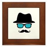 Hat Blue Glasses Mustache Framed Tile