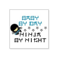 "Baby Ninja Blue Square Sticker 3"" x 3"""
