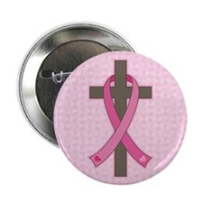 "Breast Cancer Cross 2.25"" Button (100 pack)"