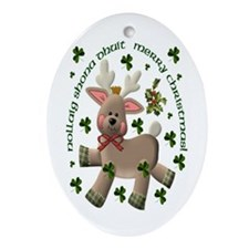 Irish/English Christmas Reindeer Oval Ornament