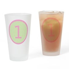 Pink and Mint Green First Birthday ONE Drinking Gl
