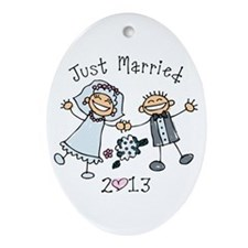 Stick Just Married 2013 Ornament (Oval)
