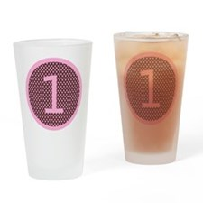 Pink and Brown First Birthday ONE Drinking Glass