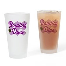 Bowling Diva Drinking Glass