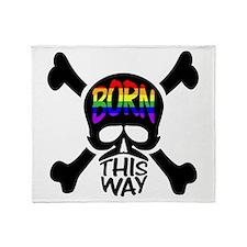 Born This Way Rainbow Skull Throw Blanket