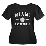 Miami Basketball Women's Plus Size Scoop Neck Dark