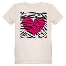 Hot pink heart in Zebra Stripes T-Shirt
