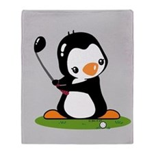 Golf Penguin Throw Blanket