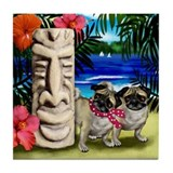 PUG DOGS TIKI POLE HAWAII Tile Coaster