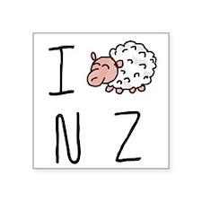 "I Heart NZ - Cute Sheep Square Sticker 3"" x 3"""