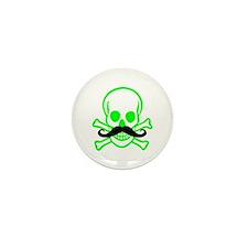 Green Mustache Skull Mini Button (10 pack)
