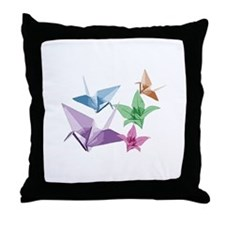 Origami composition lilies and cranes Throw Pillow