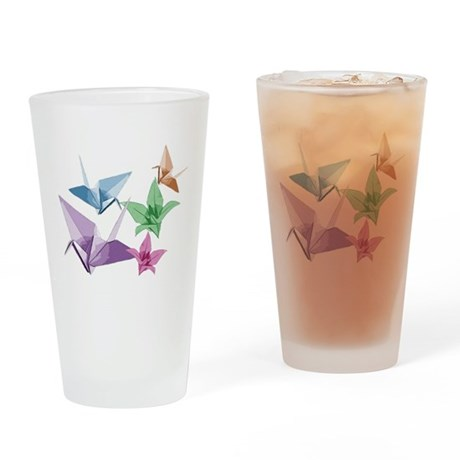 Origami composition lilies and cranes Drinking Gla