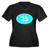 25k Oval - Cyan Women's Plus Size V-Neck Dark T-Sh