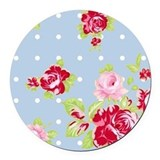 Roses On Blue Round Car Magnet