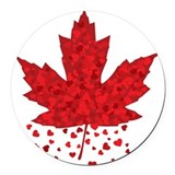 Red Maple Leaf Round Car Magnet