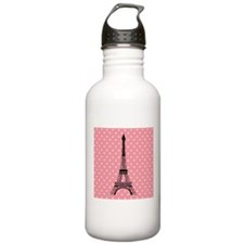 Pink Polka Dot Paris Eiffel Tower Water Bottle