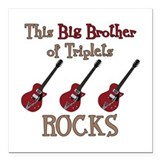 "Big Bro Rocks Triplets Square Car Magnet 3"" x 3"""