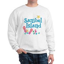 Sanibel Island Flip-Flops -White Sweatshirt