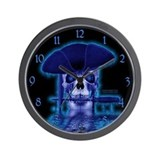 """Blue Ghost of the Captian"" Pirate Wall Clock 2"