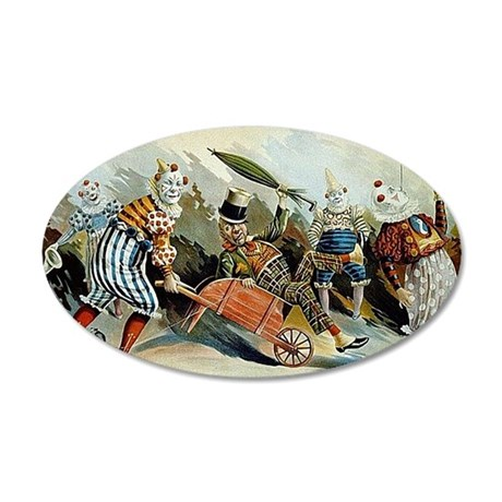 Circus of Clowns Vintage Art Print 35x21 Oval Wall