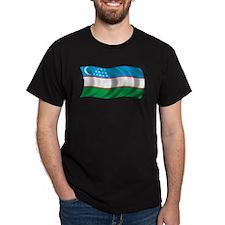 Wavy Uzbekistan Flag Black T-Shirt