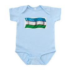 Wavy Uzbekistan Flag Infant Creeper