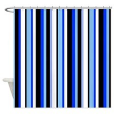 Black Stripes with Blue Shower Curtain