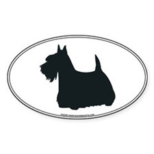 Scottish Terrier Silhouette Oval Decal