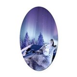 Winter Wolf Oval Car Magnet