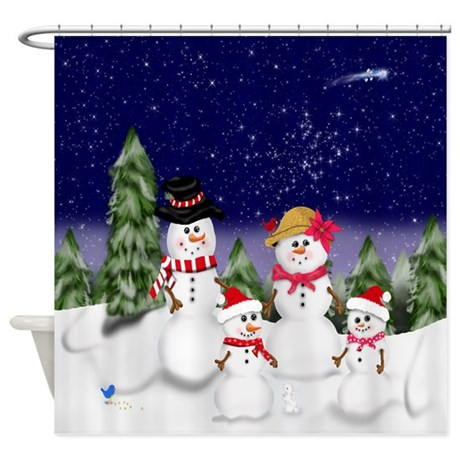 Snowman Family Scene Shower Curtain By Magicgardendesigns