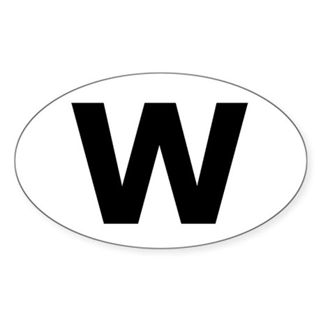 """W"" Oval Sticker"