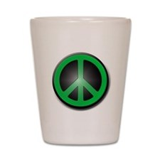 Green Peace Symbol glow Shot Glass