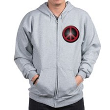Glowing Red Peace Symbol Zipped Hoody