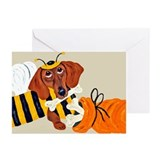 Dachshund Trick Or Treat Bee Greeting Cards (Pk of