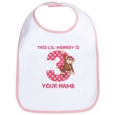 3rd Birthday Monkey Girl Bib