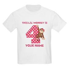 4th Birthday Monkey Girl T-Shirt