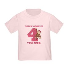 4th Birthday Monkey Girl T