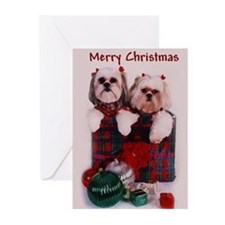 Shih Tzu Christmas Shopping Bag Greeting Cards (Pa