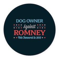 Dog Owner Against Romney Round Car Magnet